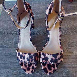 Velvet leopard block heels